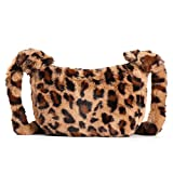 Women Leopard Print Clutch Handbag Plush Faux Fur Tote Bag Gold Metal Chain Shoulder Crossbody Purse(Coffee B)