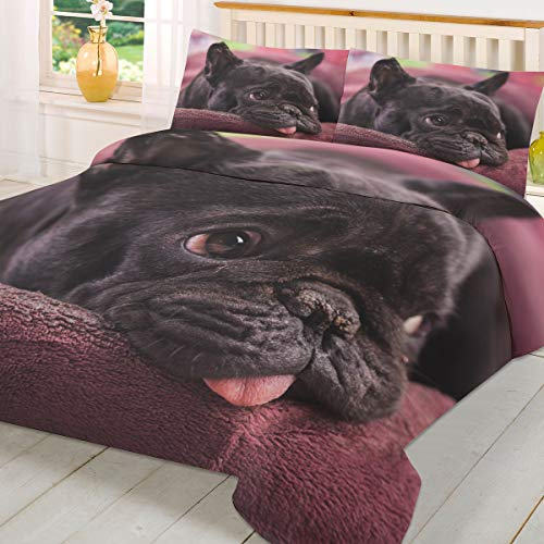 3 Piece Soft and Warm Duvet Cover Sets French Bulldog Cute Pet Comforter Cover and 2 Pillowcases,Bedding Set with Zipper and Corner Ties Queen Size