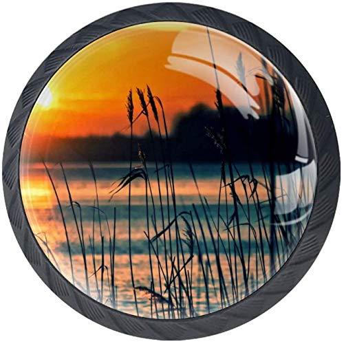 Lake Reeds Sunset Landscape Nature 4 Stück Schubladenknöpfe Kommode Möbelknöpfe glas Moebelknauf Griff Garderobe Ziehgriffe Möbelgriff