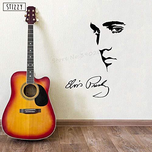 Wandtattoo Elvis Presley Wandaufkleber Berühmte Superstar Poster Interior Home Decoration Zubehör Musik Kunst Dekor Schwarz 42X71Cm