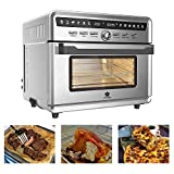 SAFER US-DESIGN Stainless Steel Large Capacity 26.4qt Air Fryer Oven, 10 in 1 Multi-function 360 Air Circulation Big Size Toaster Oven with Free Oven Gloves 12H Timer LED Display Temperature Control Glass Window 4 Layer Shelves 20 Recipes