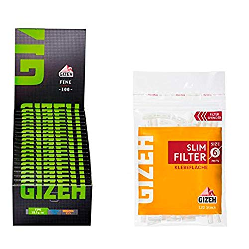 Set Gizeh 20x Gizeh Slimfilter plus 20x Gizeh Black Fine Zigarettenpapier Slim Filter Papers kurz