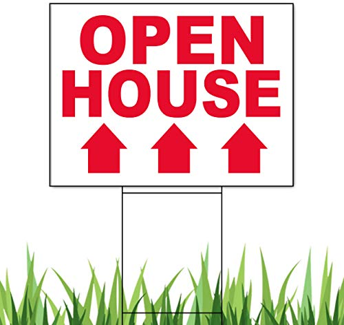 Open House Signs Pack of 10 Open House Signs White Straight Arrow Printed 1Side 18x24 inch x 4mm Corrugated Plastic Panel & 10 Metal Wire Stake Double H Frame 10x24 inch x 9gauges Metal Stake