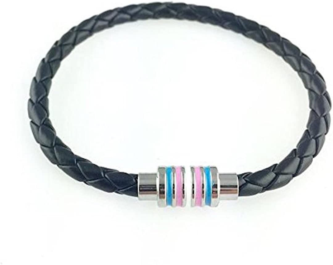 Transgender Black Braided Leather Bracelet with Magnetic Clasp 8