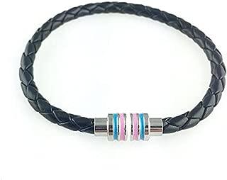 Strongest Link Transgender Black Braided Leather Bracelet with Magnetic Clasp 8
