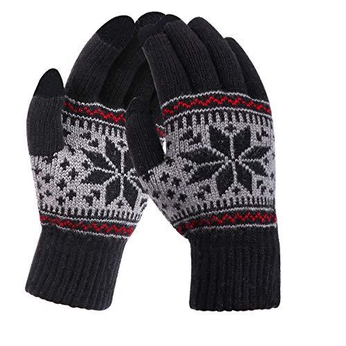 YouGa Handschuhe Damen Touchscreen-Warm Handschuhe Winter,Gestrickte Touchscreen Handschuhe Fahrradhandschuhe Herren Dehnbar Geeignet zum SkifahrenCamping