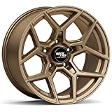 RockTrix RT105 17 inch Wheel Compatible with Jeep Wrangler JK JL 5x5 Bolt Pattern 17x9 (-12mm Offset, 4.5in Backspace) 71.5mm Bore, Bronze, Also fits Gladiator JT - 1pc