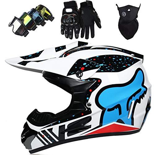 Casco Motocross Niño, Cascos Integrales set con Guantes/Gafas/Máscara, DTC & ECE Certificación, Cascos Cross Moto para BMX Bicicleta Dirt Bike MTB ATV Offroad DH - con Diseño FOX, Blanco/copo nieve