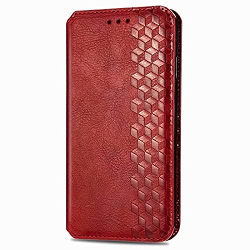LORMI Funda para Sony Xperia 5 III con tapa y soporte para tarjetas y soporte magnético y función atril para Sony Xperia 5 III, color rojo