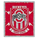 Flannel Throw Blanket University Logo Fleece Warm Blankets Super Soft Lightweight for Couch Sofa Bed All Season 50'' × 60'' (Ohio State Buckeyes)