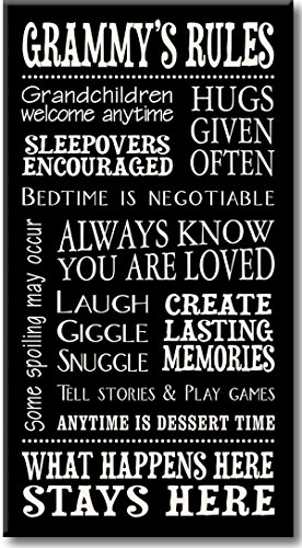 My Word! Grammy's Rules Decorative Sign, 8.5x16