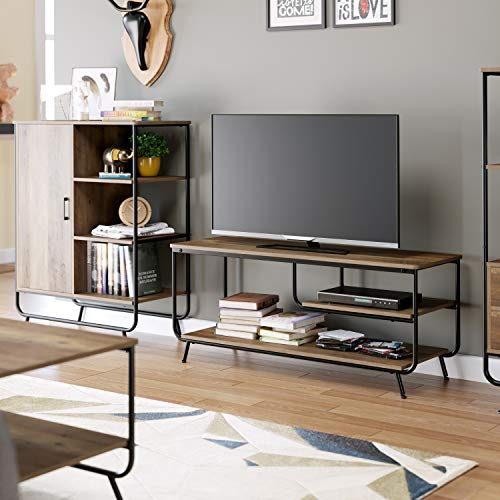 """HOMECHO Industrial TV Stand for TVs up to 55"""", Entertainment Center with 3 Tier Storage Shelves, Media TV Console for Living Room, Wood and Metal, Rustic Brown"""