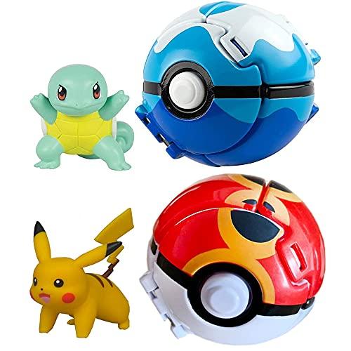 2-Piece Pack Figures & Pokeballs, Throw 'N' Pop Poké Ball, Kids Educational Birthday Party Toy Gift Idea