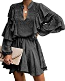 MITILLY Women's Split V Neck Ruffle Long Sleeve Polka Dot Casual Loose Swing Short Dress