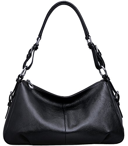 Heshe Women's Genuine Leather Shoulder Handbags Tote Bag Top Handle Bag Ladies Designer Purses Satchel Cross-body Handbag (Black)