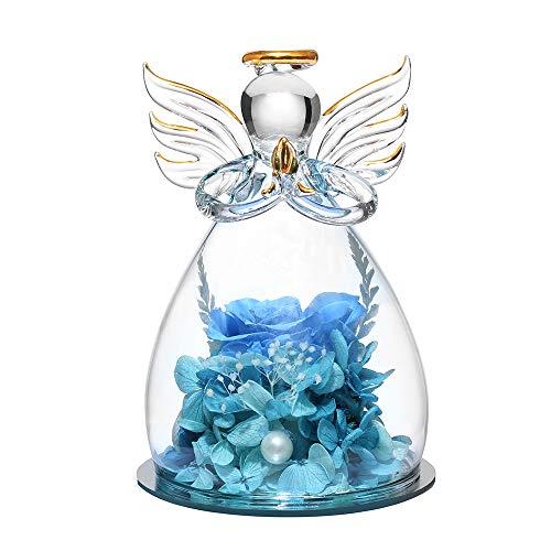 ANLUNOB Forever Rose in Angel Glass Dome Figurines Flor Artificial - Flores eternas Hechas a Mano Galaxy Blue Rose Mujeres Navidad Boda Día de San Valentín Aniversario y cumpleaños
