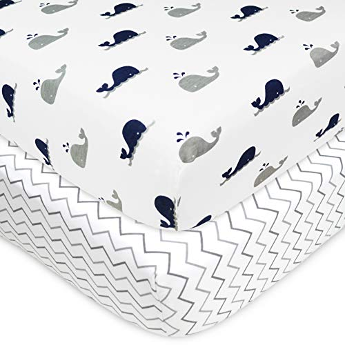 American Baby Company Printed 100% Natural Cotton Jersey Knit Fitted Crib Sheet for Standard Crib & Toddler Mattresses, Navy Whale/Grey Zigzag, for Boys & Girls