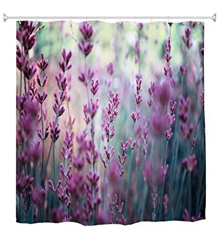 A.Monamour Duschvorhang Lila Lavendel Blumen Feld In Provence Frankreich Natur Landschaft Drucken Wasserdicht Polyester Stoff Duschvorhang Für Bad-Accessoires 180x180 cm / 72