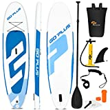 "Goplus Inflatable Stand Up Paddle Board, 6"" Thick SUP with Accessory Pack, Adjustable Paddle, Carry Bag, Bottom Fin, Hand Pump, Non-Slip Deck, Leash, Repair Kit (Blue, 11FT)"