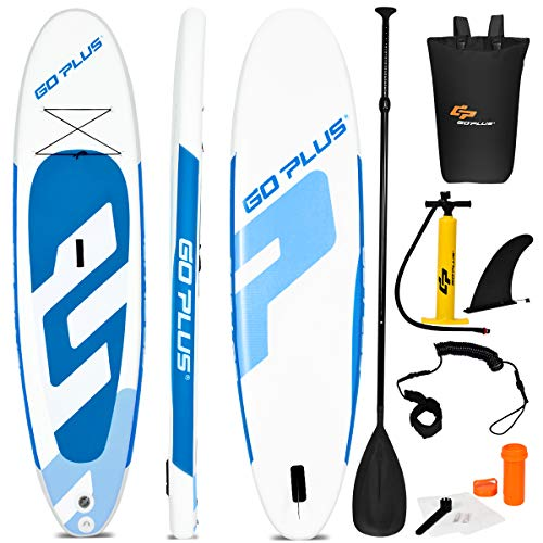 "Goplus Inflatable Stand Up Paddle Board, 6"" Thick SUP with Accessory Pack, Adjustable Paddle, Carry Bag, Bottom Fin, Hand Pump, Leash and Repair Kit"