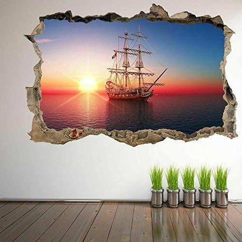 Barco de vela pirata Sunset 3D Wall Art Sticker Mural Decal Home Kids Decor- HABITACIÓN Dormitorio Cocina-50x70cm