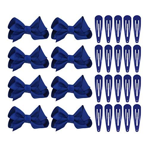 Lurrose - Set de 12 lazos con pinza y 50 clips de metal de color azul para el pelo. Kit clásico de accesorios para el pelo para niñas