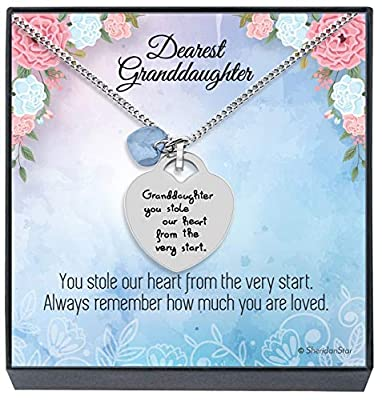 Granddaughter Easter Basket Stuffer Jewelry Necklace Gifts from Grandma, Grandpa, Grandparents - ''Granddaughter You Stole Our Heart'' Keepsake Heart Necklace for Christmas, Birthday Present Little Girls, Teens (Sky Blue)