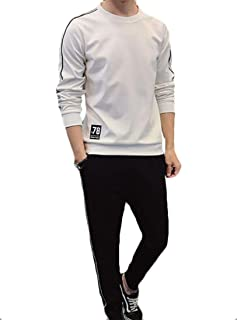 Maweisong Men's Jogging Sweat Autumn Winter Printed Top Pants Sports Suit Athletic Tracksuit