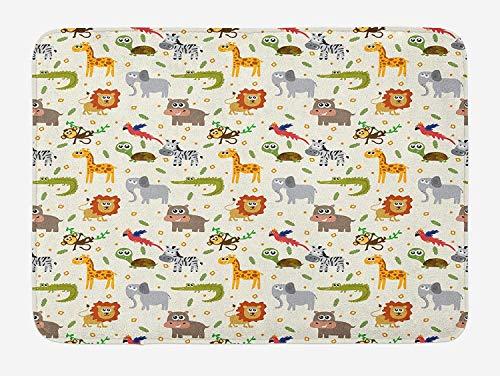 Casepillows Cartoon Animal Badmat, Afrikaanse Australische kinderachtige Fauna Silly Faces Safari Leeuw Olifant Krokodil, Pluche Badkamer Decor Mat met Niet Slip Backing, 23,6 x 15,7 Inch, Multi kleuren