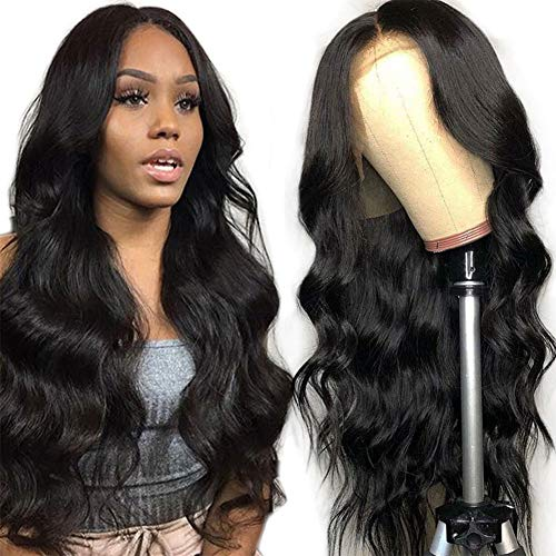 Body Wave Lace Front Wigs Human Hair, 4x4 Lace Closure Wig 26 inch Brazilian Body Wave Wig Real Human Hair Wigs for Women Glueless Body Wave Natural Black Unprocessed Closure Wig