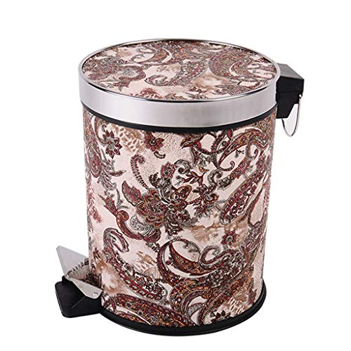 XYW-0001 Trash Can - Step-On Kitchen Garbage Bin - Leather Stainless Steel Pressure Ring - Separate Liner Storage Bucket - Dragon and Phoenix Pattern 12 L