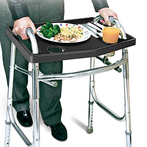 Walker Tray with Non-Slip Grip Mat, Fits Most Walkers - Black