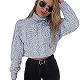 UJUNAOR Damen Kurzarm-Pullover mit Hochgeschlossen Frauen Sexy Nabelschnüren Sweatshirt(Grau,CN S)
