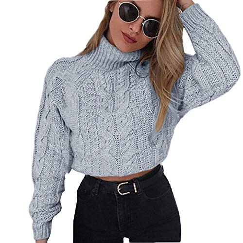 Hemlock Women Winter Knitted Sweater Turtleneck Cropped Sweater Coat High Collar Outerwear Pullovers Gray