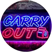 Carry Out Café Illuminated Dual Color LED看板 ネオンプレート サイン 標識 赤色 + 青色 600 x 400mm st6s64-i0503-rb