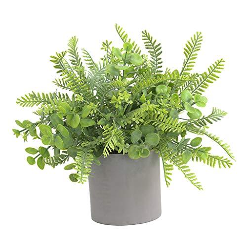 FLAMEER Plantas Artificiales en Macetas, Plantas Verdes para El Hogar, Oficina, Escritorio, Ducha, Cocina, Estante, Dormitorio, Baño, Decoración In - Verde, Individual