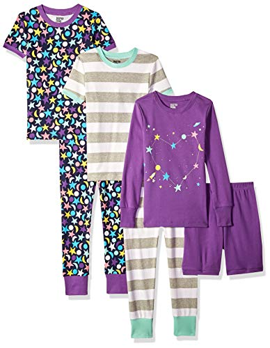 Spotted Zebra Girls' Toddler Snug-Fit Cotton Pajamas Sleepwear Sets, 6-Piece Moon and Stars, 3T