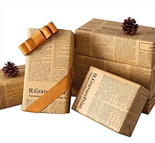 20 hojas de papel de regalo de papel de estraza retro para periódicos vintage, 50 x 70 cm, papel de regalo retro para regalos, libros, flores, souvenir