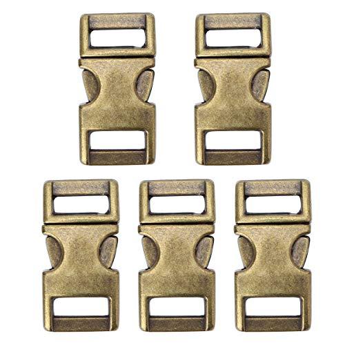 Freebily 5 Stück Klick-Verschluss 10mm Metall Steckschnalle Steckverschluss Klippverschluss für Rucksack, Paracord-Armbänder, Hunde-Halsbänder Antik Messing One Size