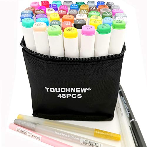 48 Alcohol Markers Touch New Markers, Graffiti Markers Touch Twin Tip Markers Text Marker Pens Set for Students Manga Artist (White, 48 pcs)