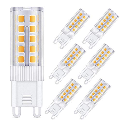G9 LED Warmweiß 4W,Solocil 6er LED Lampe G9 Birne 4W Ersetz 40W Halogen AC200-240V, 360°Abstrahlwinkel 44 Led 450Lumen,Kein Flackern G9 Leuchtmittel