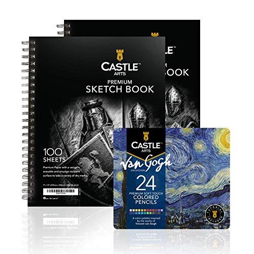 Castle Art Supplies 24 Piece Van Gogh Colored Pencils Set and 2 Sketchbook Artist Bundle