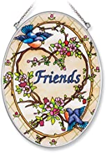 Amia 8308 Hand Painted Glass Suncatcher with Friends Songbird Design, 5-1/4-Inch by 7-Inch Oval