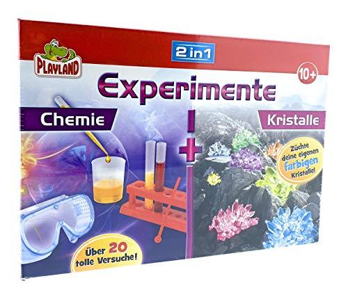 Playland Experimente Experimentierkasten ab 8 Jahre 2 in 1 (Chemie/Kristalle)