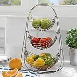 Warmiehomy Cesta de Frutas, Frutero de 3 Pisos de Metal, Cesta para Verduras y Frutas, Fruteros de Cocina para Mostrador, Organizador Cocina - Plata