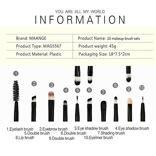 10 Pinceaux De Maquillage (Brun) Rawdah 10 pcs Beauty Professional Makeup Brushes Defined Tools Foundation Powder Brush