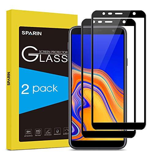 SPARIN [Lot de 2] Compatible avec Verre Trempé Samsung J6 Plus/J4 Plus, [Sans Bulles] [Couverture Complète] Prection Ecran Film Protecteur Samsung J6 Plus/J4 Plus [Haut Définition]