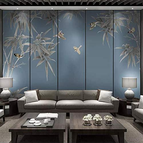 Pbbzl Verse Bamboe Bloemen en Vogels Tv Achtergrond Muurschildering Professionele Aangepaste High-End Mural Factory Groothandel Behang 350x250cm