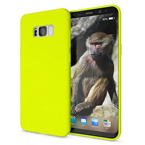 NALIA Cover Neon compatibile con Samsung Galaxy S8 Plus, Custodia Protezione Ultra-Slim Neon Case Protettiva Morbido Cellulare in Silicone Gel, Gomma Telefono Bumper Sottile, Colore:Giallo