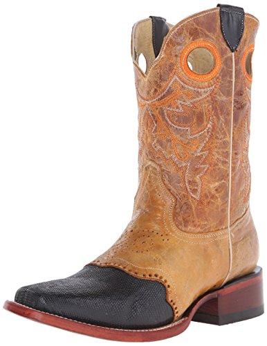 Ferrini Men's Lizard Vamp, Black, 10.5 D US Black Lizard Cowboy Boots
